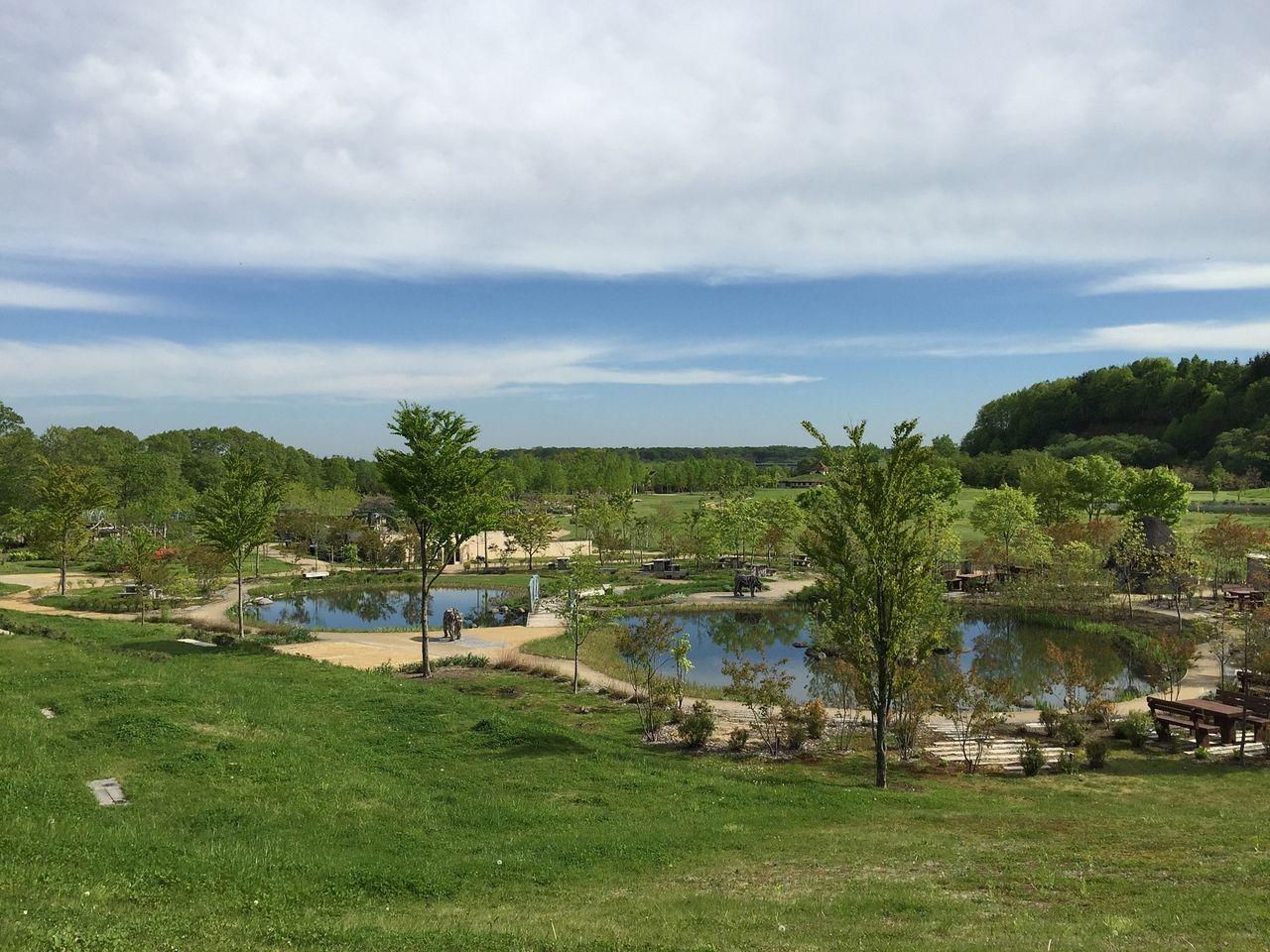 水と緑、そして美しい花々が作るイングリッシュガーデンが楽しめるえこりん村の風景です。